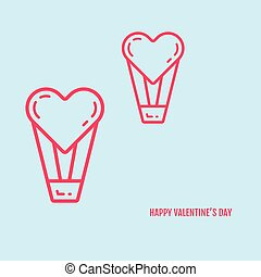 Vector illustration of valentines day concept in flat bold line style.