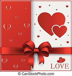 Valentines day greeting card with cut out heart, ribbon on ornate two colors background.