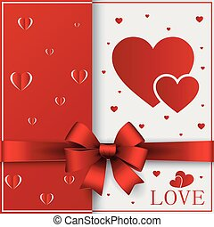 Valentines day greeting card with cut out heart, ribbon on ornate two colors background