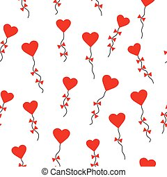 Valentines day pattern seamless with heart-shaped kites