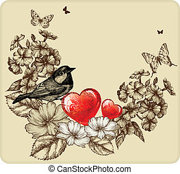 Vector illustration of Valentine's Day with a bird, blooming roses, phlox and butterflies
