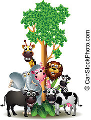 various funny cartoon safari animal