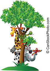vector illustration of various funny cartoon safari animals to hide behind a tree