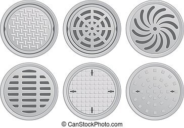 Manhole Covers - Vector Illustration of various Manhole ...