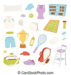 Vector illustration of various stylized tennis icons.