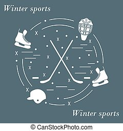 Vector illustration of various subjects for hockey arranged...