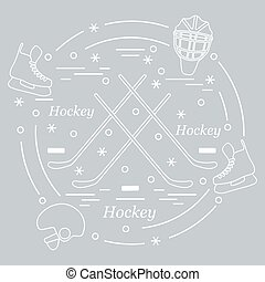 Vector illustration of various subjects for hockey arranged in a circle. Including icons of helmet, skates, goalkeeper mask, stick, puck.