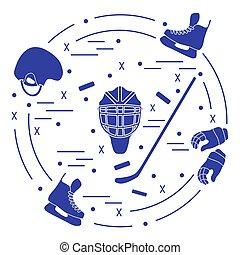 Vector illustration of various subjects for hockey. Including icons of helmet, gloves, skates, goalkeeper mask, hockey stick, puck.