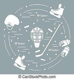 Vector illustration of various subjects for hockey. Including icons of helmet, gloves, skates, goalkeeper mask, hockey stick, puck.