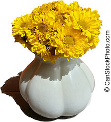 Vector illustration of vase with yellow gerberas