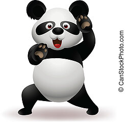 Vector Illustration Of Vector illustration of Funny panda practicing martial art