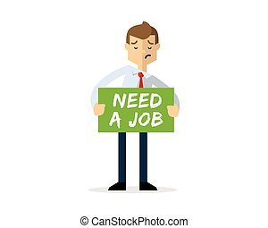 Vector of Businessman with need a job board, asking of job