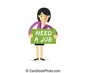 Vector of Businesswoman with need a job board, searching of job