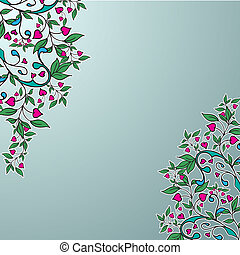 Vector ornament with green leaves and hearts