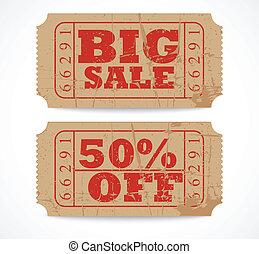 Vector vintage paper sale ticket de