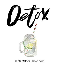 Vector illustration of vegan detox smoothie. Hand drawn healthy drink made of lemon. Isolated on white.