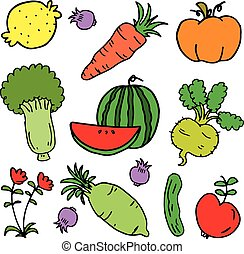 Vector illustration of vegetable set