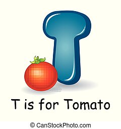 Vegetables alphabet: T is for Tomato - Vector illustration...