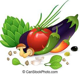 Vegetables set on white background