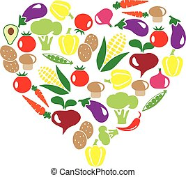 veggies heart - vector illustration of veggies heart