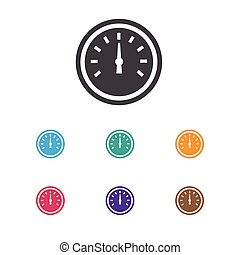 Vector Illustration Of Vehicle Symbol On Speedometer Icon. Premium Quality Isolated Odometer Element In Trendy Flat Style.