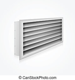 Gray ventilation louver perspective view. Isolated vector illustration on white.