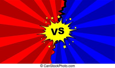 Vector illustration of versus letters with speech bubble in comic pop art style