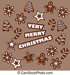 Vector Illustration of Very Merry Christmas with Gingerbread