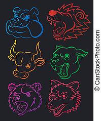 Vector Illustration Of Vicious Wild Animal Head Tatto Set