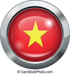 Vietnam flag metal button