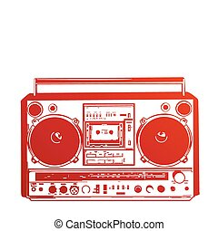 Vector illustration of vintage boombox