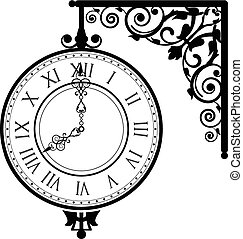 vintage clock - Vector illustration of vintage clock