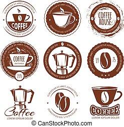 Vector illustration of vintage coffee labels and badges. Logo cafe