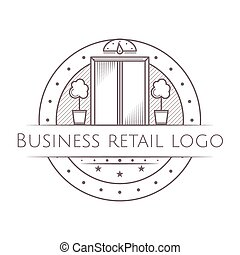 Vector illustration of vintage elevator round icon with text