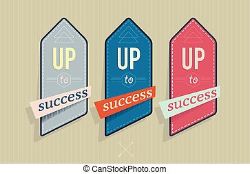 Vector illustration of vintage labels with success text
