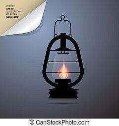 Vector Illustration of Vintage Lantern, Gas Lamp