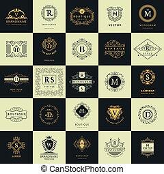 Vintage Logos Design Templates Set. Logotypes elements collection, Icons Symbols, Retro Labels, Badges, Silhouettes. Abstract logo, Letter emblems. Premium Collection. Vector illustration