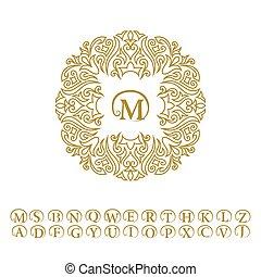 Vintage monogram. Abstract logo, alphabet. Letter emblem M. Line art ornament for design template. Outline circle pattern for wedding invitations, greeting cards, certificate. Vector golden frame.