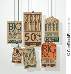 Vector Illustration of Vintage sale tags design
