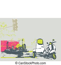 urban background - Vector illustration of vintage scooter on...