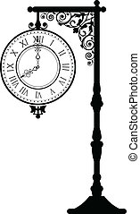 vintage street clock - Vector illustration of vintage street...