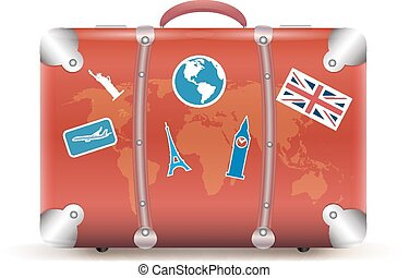 Vector illustration of vintage suitcase with funky stickers...