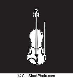 Vector illustration of violin, white template
