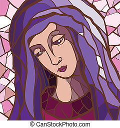 Vector illustration of Virgin Mary in stained glass.