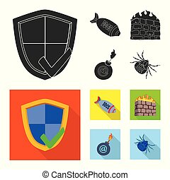 Vector illustration of virus and secure symbol. Set of virus and cyber stock vector illustration.