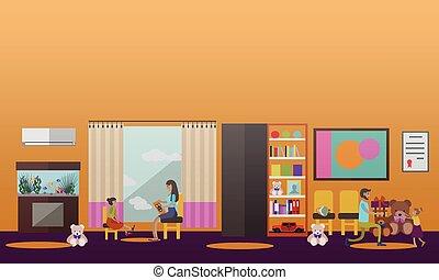 Vector illustration of volunteer helping little kids living in orphanage