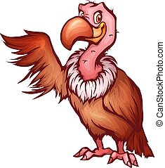 Vector illustration of vulture in cartoon style.