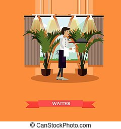Vector illustration of waiter serving dish in flat style