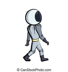 Vector illustration of walking astronaut
