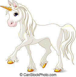 Beautiful White Unicorn - Vector Illustration of walking...